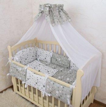 Комплект постельного белья в кроватку Бетис Маленькие Звездочки-7 Серый 60х120 см