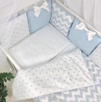 Комплект постельного белья Shine Маленькая Соня 034707 голубой зигзаг 3 предмета