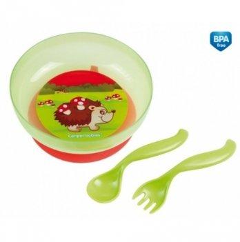 Набор посуды детский Canpol babies: тарелка с крышкой + ложка + вилка