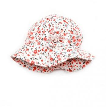Панама с цветком для девочки Модный карапуз, белая с красным