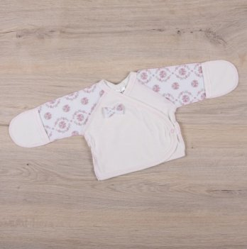 Распашонка для новорожденных Бетис Бантик Молочный красный