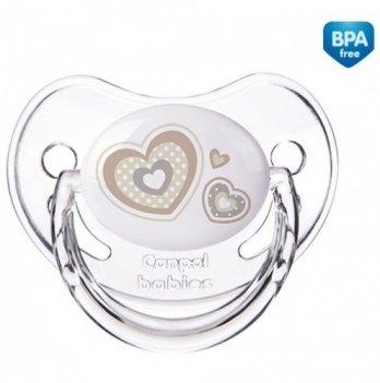 Пустышка силиконовая анатомическая Canpol babies Newborn baby, 6-18 мес, бежевые сердца