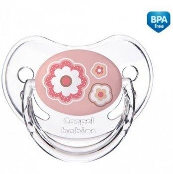 Пустышка силиконовая анатомическая Canpol babies Newborn baby, 6-18 мес, розовые цветы