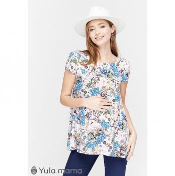 Блуза для беременных и кормящих мам MySecret, белая с цветами