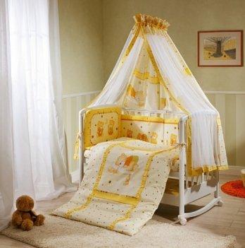 Комплект постельного белья для кроватки Perina Ника Мишка на Подушке (бежевый) из 3, 4, 6, 7 элементов