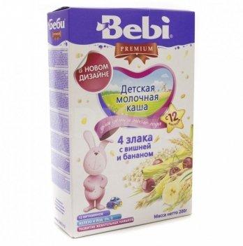 Каша 4 злака Kolinska Bebi PREMIUM, молочная,с вишней и бананом 200 г