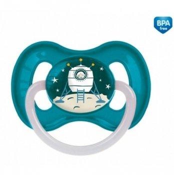 Пустышка латексная круглая Canpol babies space, 0-6 мес, синяя
