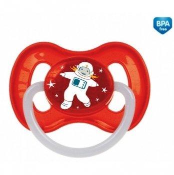 Пустышка латексная круглая Canpol babies space, 0-6 мес, красная