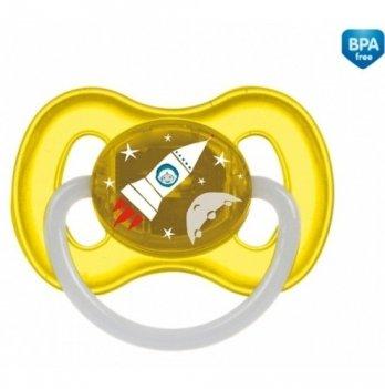 Пустышка латексная круглая Canpol babies space, 6-18 мес, желтая