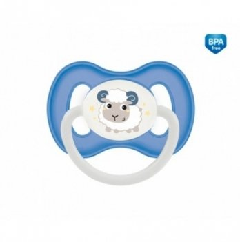 Пустышка силиконовая симметричная Canpol babies Bunny & Company, 18+ мес, синяя