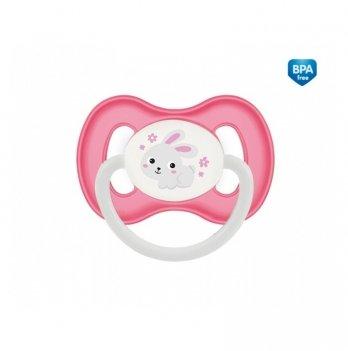 Пустышка силиконовая симметричная Canpol babies Bunny & Company, 6-18 мес, розовая