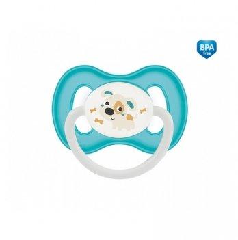 Пустышка силиконовая симметричная Canpol babies Bunny & Company, 0-6 мес, бирюзовая