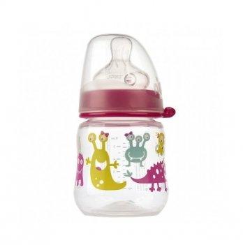 Бутылочка для девочки NIP, с широким горлышком+соска силиконовая (Система