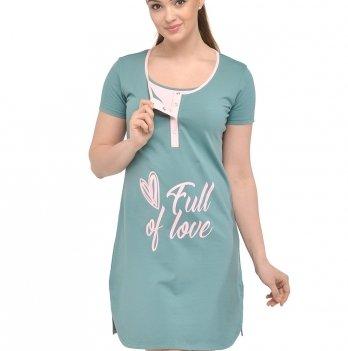 Ночная рубашка Мамин Дом 24167 Clover морская волна