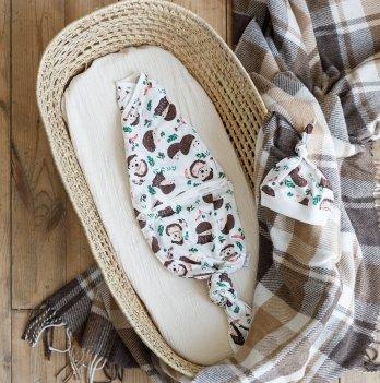 Пеленка кокон для новорожденных на липучках с шапочкойMagbaby Каспер Ежики Белый/Коричневый 104052