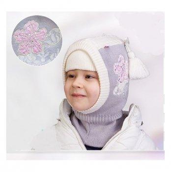 Шапка-шлем зимняя для девочки Tutu 3-002878, светло-серая