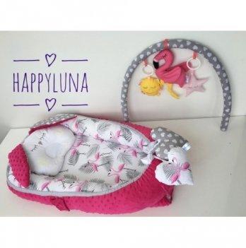 Кокон-гнездышко Happy Luna 0157 Babynest Plush Фламинго 3