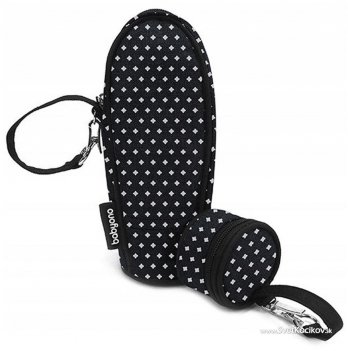 Термоупаковка + футляр для пустышки BabyOno, черная с белыми звездочками, 605/05