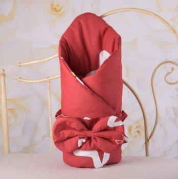 Демисезонный конверт-одеяло с поясом резинкой Бетис Яркие звезды Красный 27683321 85х85 см