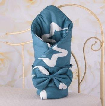 Демисезонный конверт-одеяло с поясом резинкой Бетис Яркие звезды Синий 27683320 85х85 см