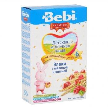 Каша злаковая Kolinska Bebi PREMIUM, молочная, с малиной и вишней 200 г