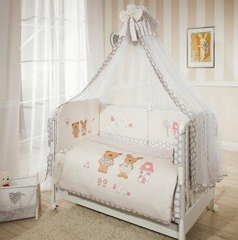 Комплект постельного белья для кроватки Perina Венеция Лапушки бежевые из 3, 4, 6, 7 элементов