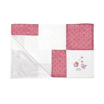Одеяльце детское BabyOno minky patchwork, розовое