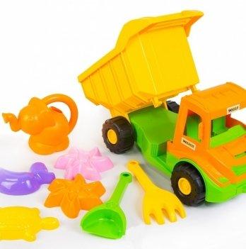Multi truck грузовик, Тигресс с набором для песка с лейкой, 8 эл.