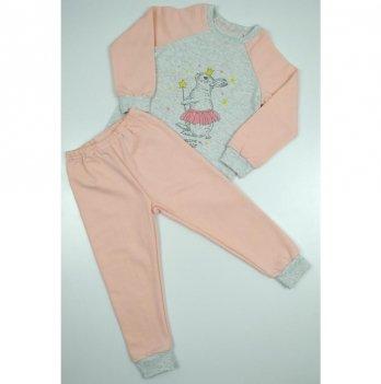 Пижама детская теплая Sweet Mario Коралловый/Серый 3-28-2