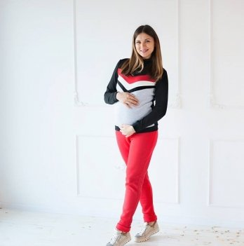 Штаны из утепленного футера для беременных и кормящих мам MBerry dress красные