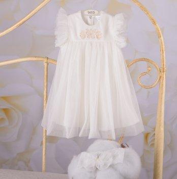 Детское платье с повязкой Бетис Софія Молочный Интерлок/Фатин 27684349