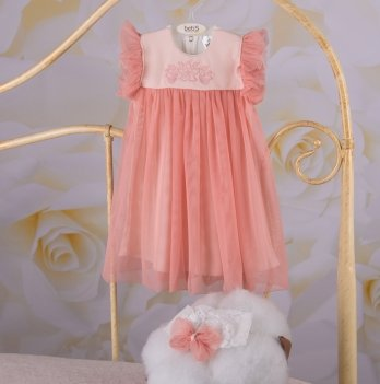 Детское платье с повязкой Бетис Софія Пудровый Интерлок/Фатин 27684355