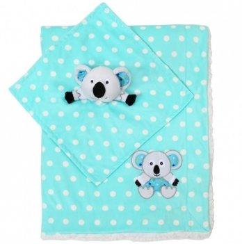 Одеяло BabyOno Minky-коала, двухстороннее, 75х100 см, бирюзовое