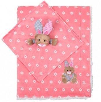 Одеяло BabyOno Minky-зайчик, двухстороннее, 75х100 см, розовое