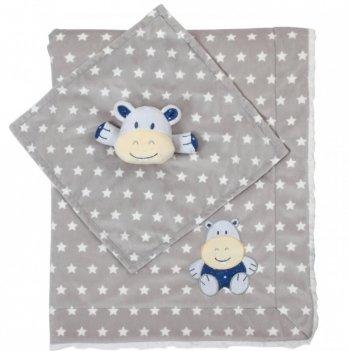 Одеяло BabyOno Minky-бегемотик, двухстороннее, 75х100 см, серое