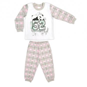 Пижама Garden baby для девочки «Панда», серо-розовая клетка