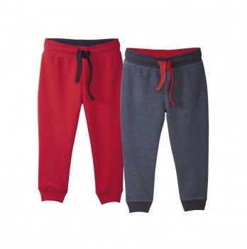 Штаны спортивные для мальчика Lupilu на флисе красные и синие, 2 шт.