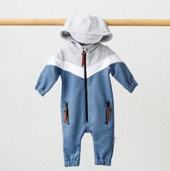 Комбинезон детский из трехнитки Magbaby Oldy Синий 0-12 месяцев