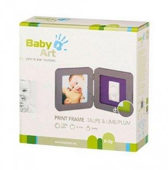 Фоторамка с набором для создания отпечатков Baby Art двойная, серая