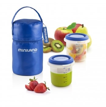 Термосумка Miniland Baby, с 2 мерными стаканами для еды PACK-2-GO HERMISIZED BLUE