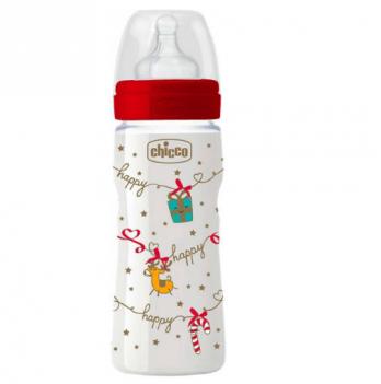 Бутылочка пластиковая Chicco Well-Being Christmas, c силиконовой соской, 330 мл, с 4 месяцев