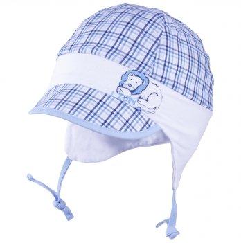 Хлопковая шапочка для мальчика с ушками на хлопковом подкладе Tutu 3-004576 голубой