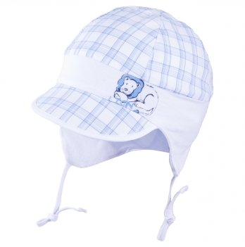 Хлопковая шапочка для мальчика с ушками на хлопковом подкладе Tutu 3-004576 белый