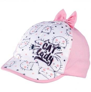 Бейсболка хлопковая для девочек Tutu 3-004599 бело-розовый