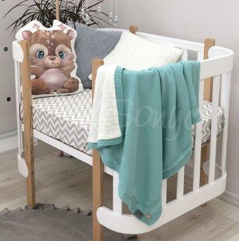 Пледдля новорожденных вязаный Маленькая Соня WellSoftРогожка Бирюзовый9351468