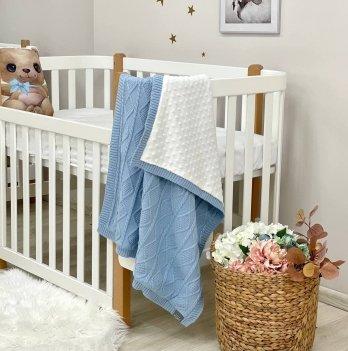 Пледдля новорожденных вязаный Маленькая Соня WellSoft Ромб-Коса Голубой935207