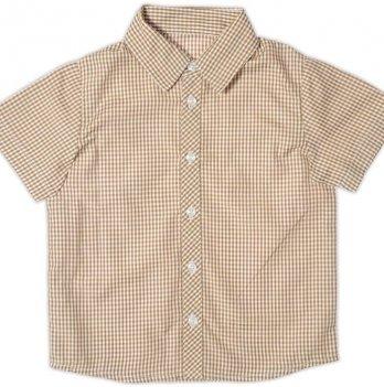 Рубашка для мальчика Garden baby, с коротким рукавом, коричневая клетка, 30003-38