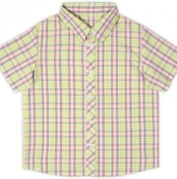 Рубашка для мальчика Garden baby, с коротким рукавом, салатовая клетка, 30003-38