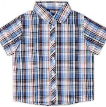 Рубашка для мальчика Garden baby, с коротким рукавом, сине-голубая клетка, 30003-38