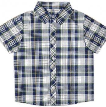 Рубашка для мальчика Garden baby, с коротким рукавом, сине-оливковая клетка, 30003-38